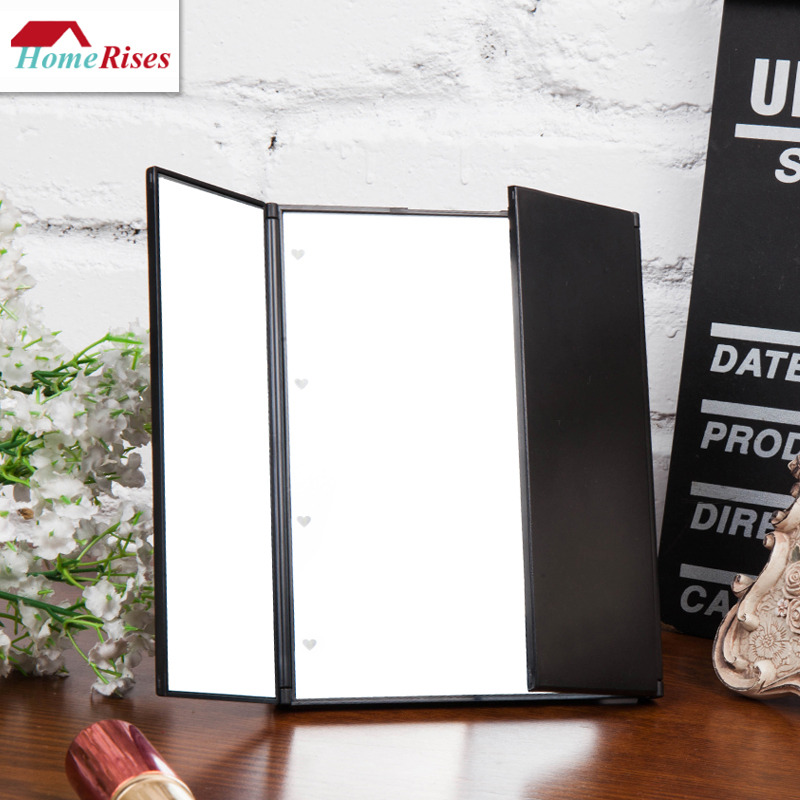 Good quality makeup mirror led lights folding free stand portable mozeypictures Gallery