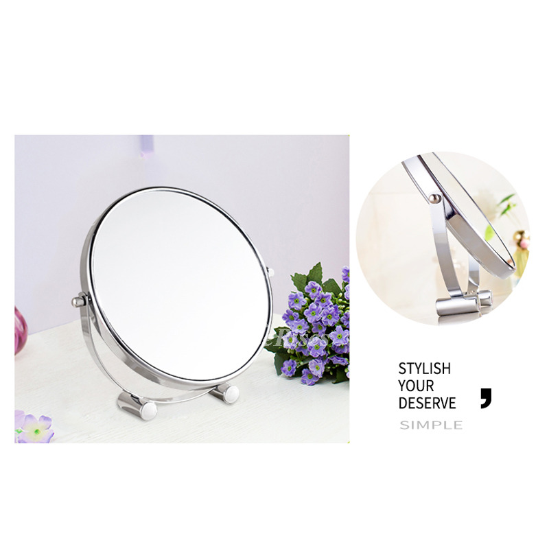 Double Sided Makeup Mirror Silver Portable Magnifying 3x