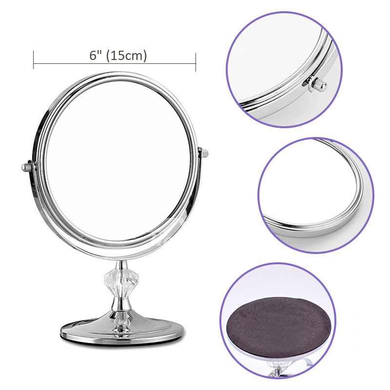 Makeup Vanity Mirror Free Standing Brass Double Sided Magnifying