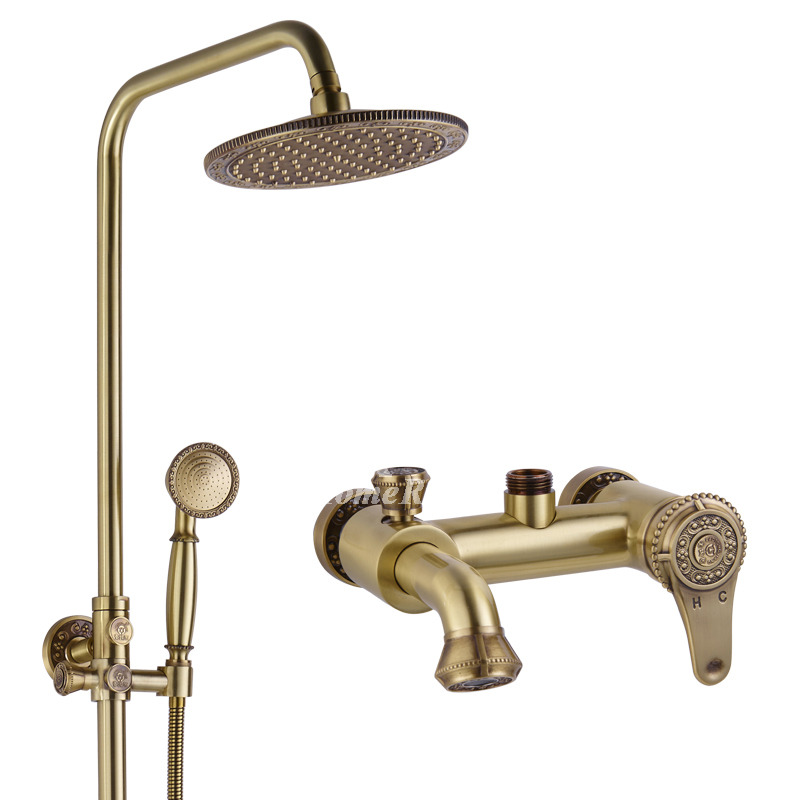 Exposed shower faucet gold carved wall mount polished brass for Polished gold bathroom faucets