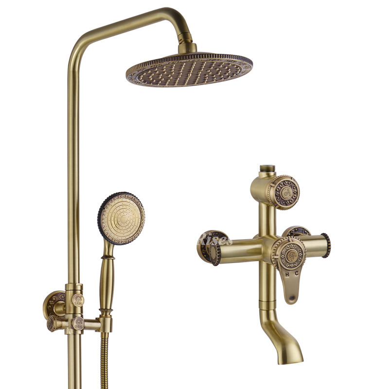 Antique Brass Shower Faucet Wall Mount Gold Single Handle Vintage