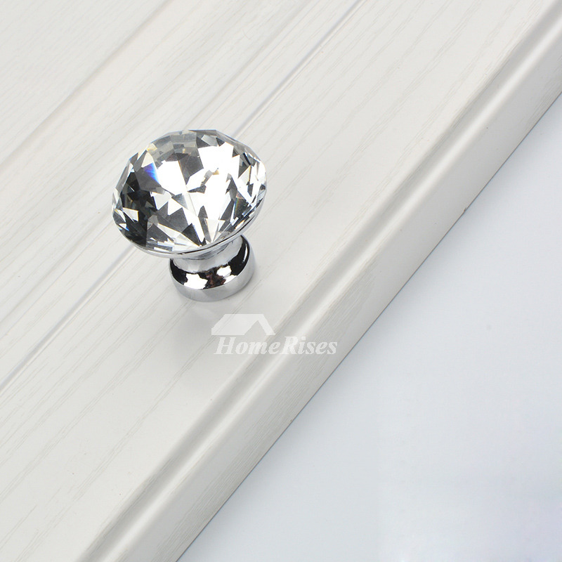 Crystal Door Knobs Silver Gold Black Drawer Cabinet Closet