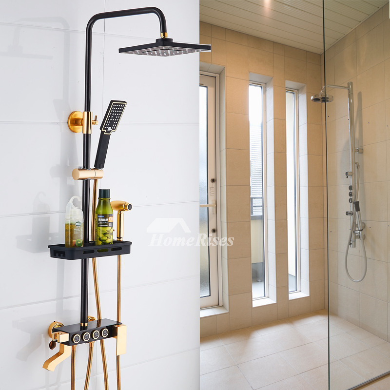 exposed pipe shower .  Sidespray Painting Square Exposed Shower System Black Single Handle