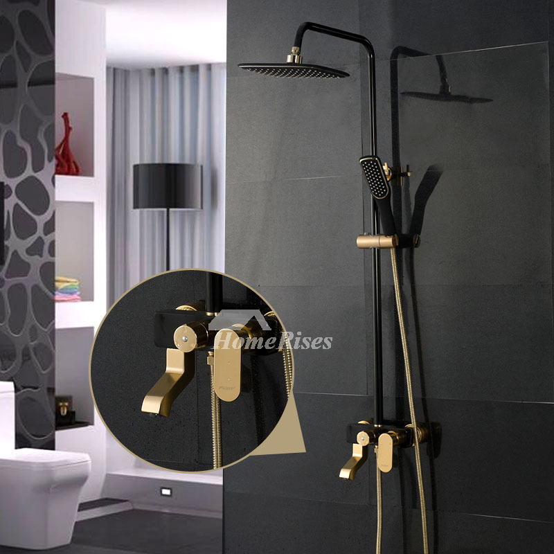 Black Shower Fixtures Wall Mount Painting Square Single Handle