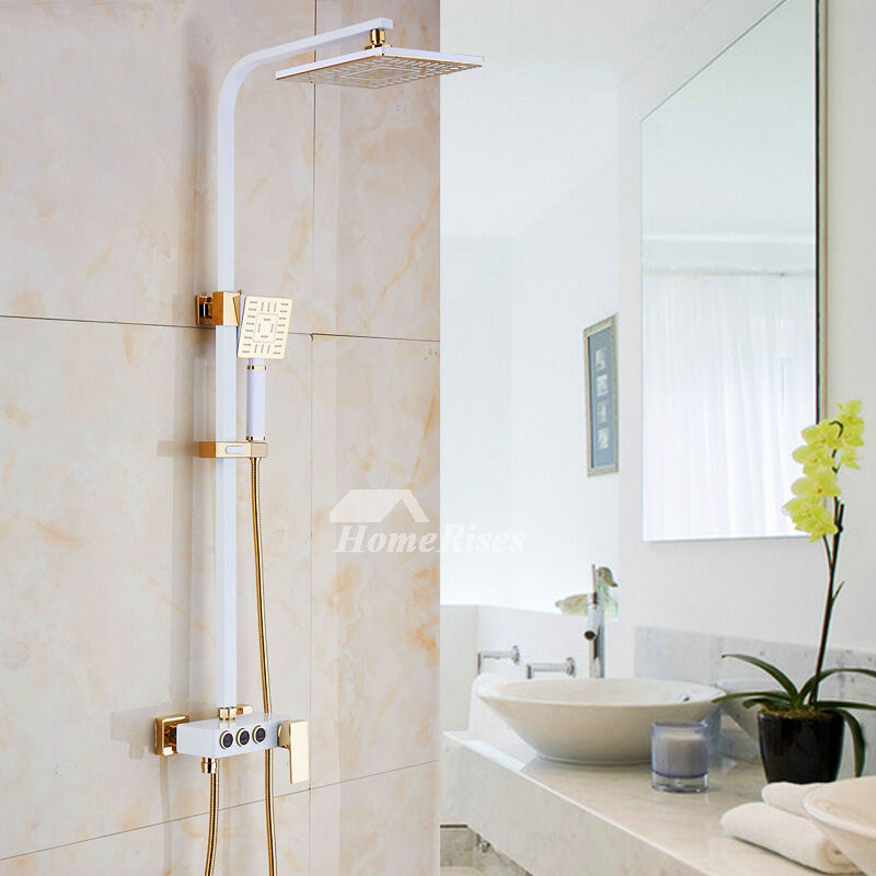 Outdoor Shower Fixtures Wall Mount White Painting Square Modern