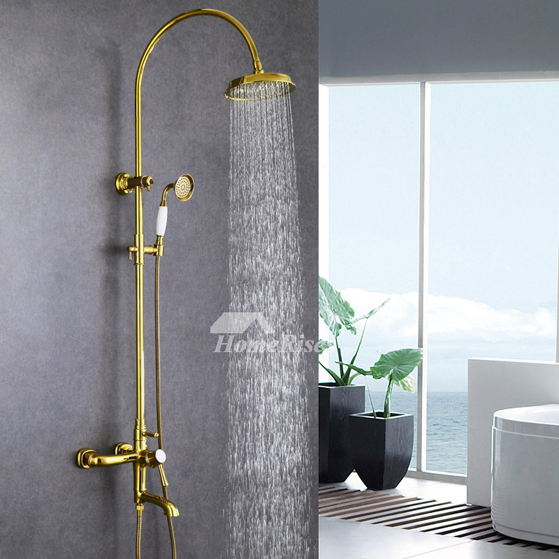 Shower And Bath Fixtures Gold Wall Mount Gooseneck Polished Brass