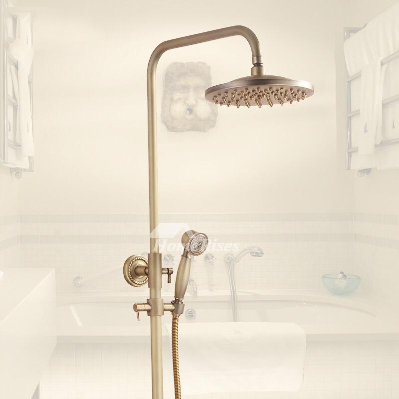 Exquisite Wall Mount Antique Brass Gold Shower Fixtures Bathroom