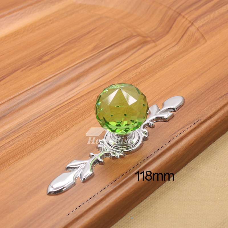 5 Inch Drawer Pulls Green Blue Cognac Transparent Crystal