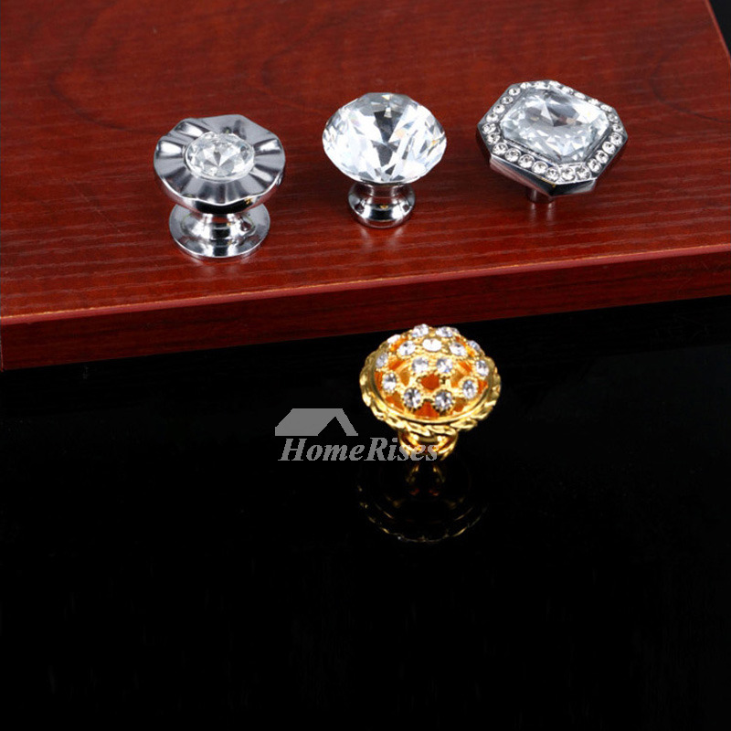 Silver Cabinet Knobs Gold Crystal Alloy Decorative Cabinet