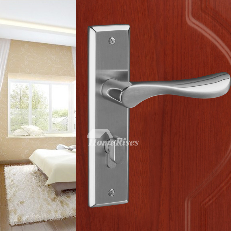 Modern Door Handles Lock Without Key Brushed Stainless Steel Interior