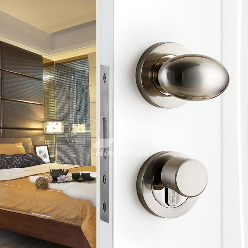 Brushed Nickel Door Handles Lock Without Key Brushed Silver