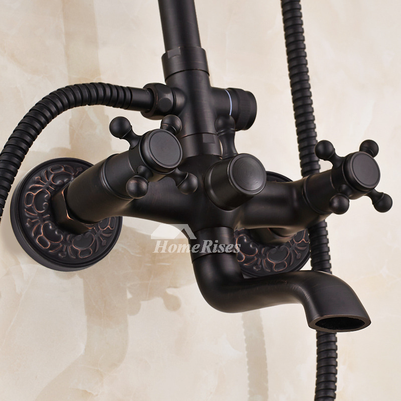 Shower Faucet Systems Oil-Rubbed Bronze Black Wall Mount