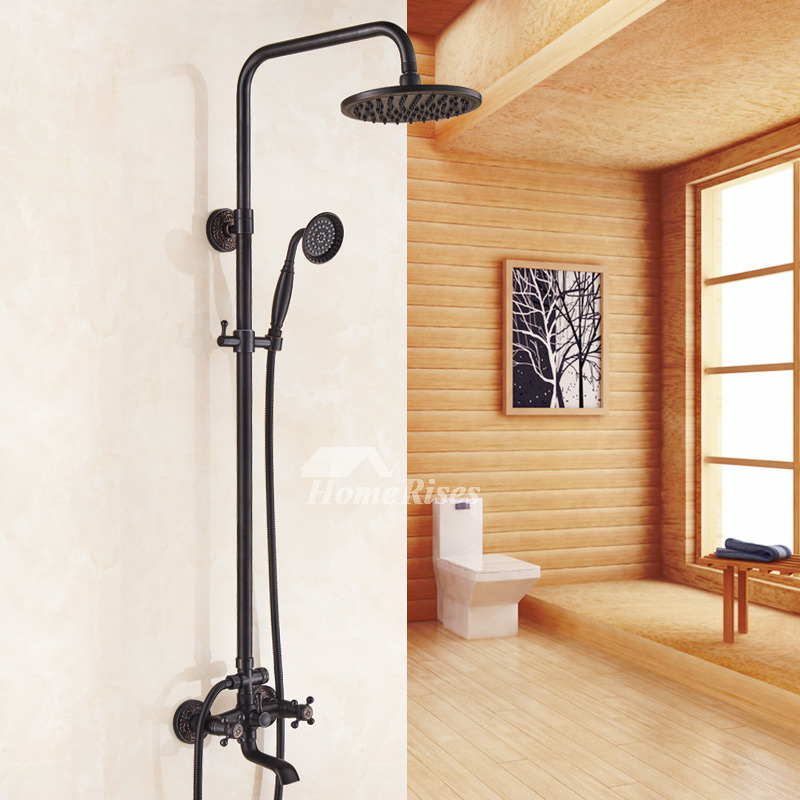 Matte Black Shower Faucet Oil Rubbed Bronze Bar Spa Bathroom