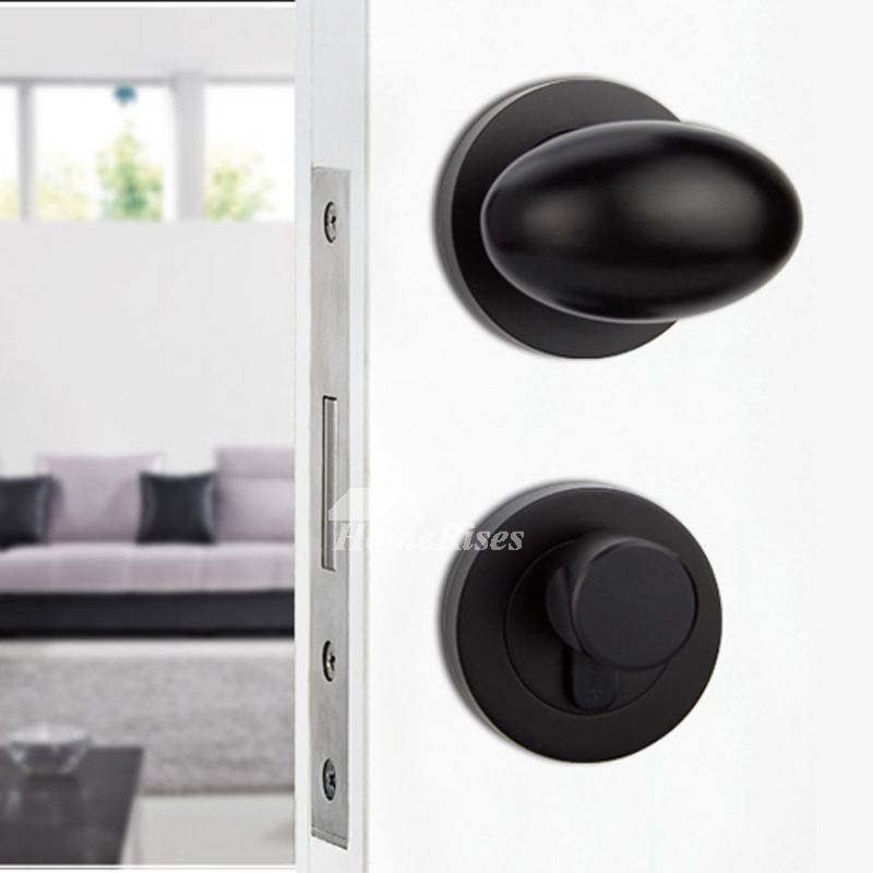 Black Door Handles Interior Painting Zinc Alloy Without Key Smooth