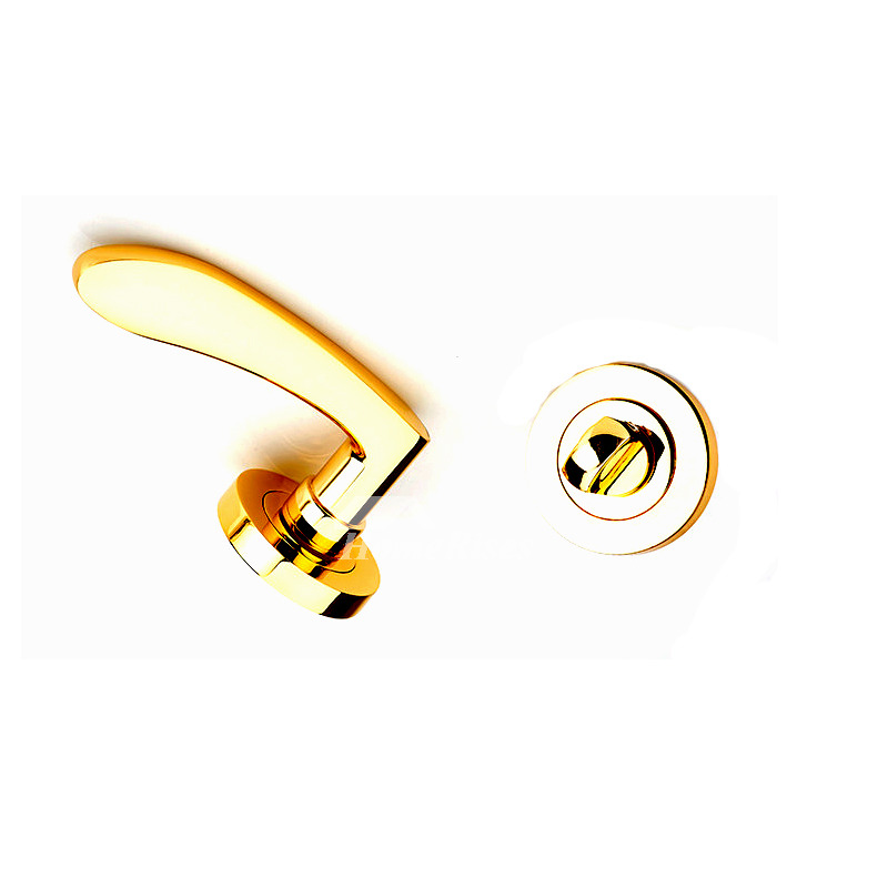 Front Door Handles Without Key Polished Brass Gold Zinc Alloy