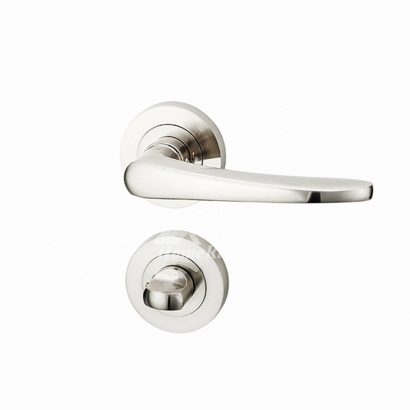 Silver Door Handles Brushed Lock Without Key Stainless Steel Interior