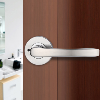 Silver door handles brushed lock without key stainless steel interior for Door handles with locks for bedrooms