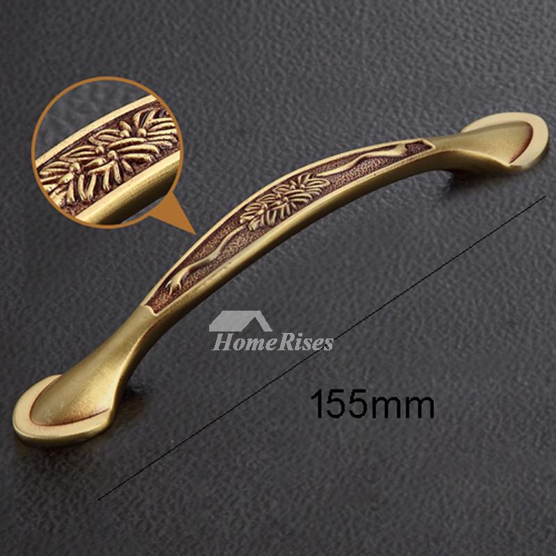 3.5/6 Inch Carved Antique Brass Gold Kitchen Drawer Pulls Bedroom