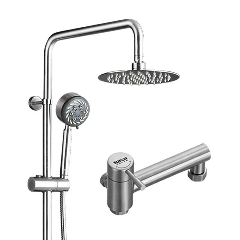 Shower Faucet Set Stainless Steel Nickel Brushed Silver Wall Mount