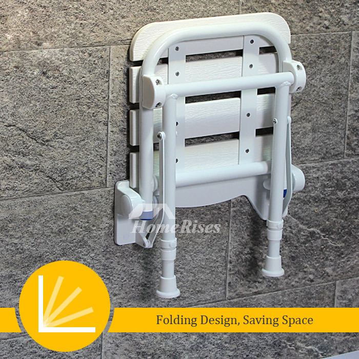 Height Adjustable Folding Shower Seat With Legs White/Black Wood