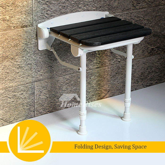 Adjustable Folding Shower Seat With Legs White/Black Wood