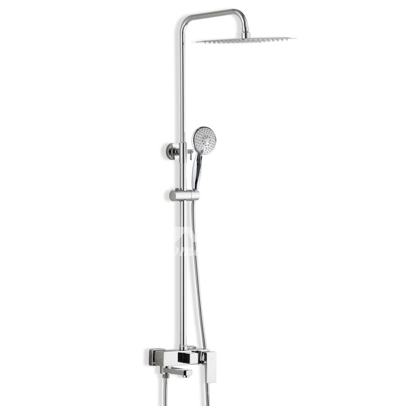 Modern Shower Faucet Wall Mount Chrome Single Handle Silver Toilet