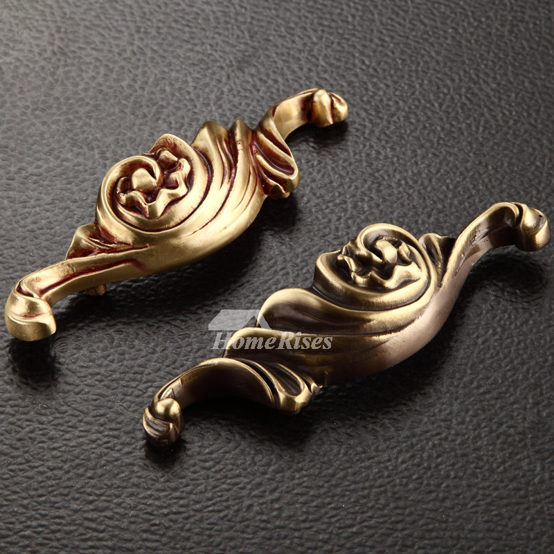 Antique Brass Rose Gold Carved 5 Inch Gold Drawer Pulls