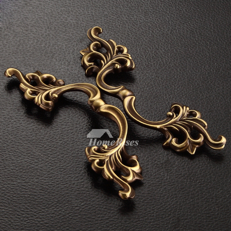 Gold Drawer Pulls Carved Antique Brass Unique Dresser 6.5 Inch
