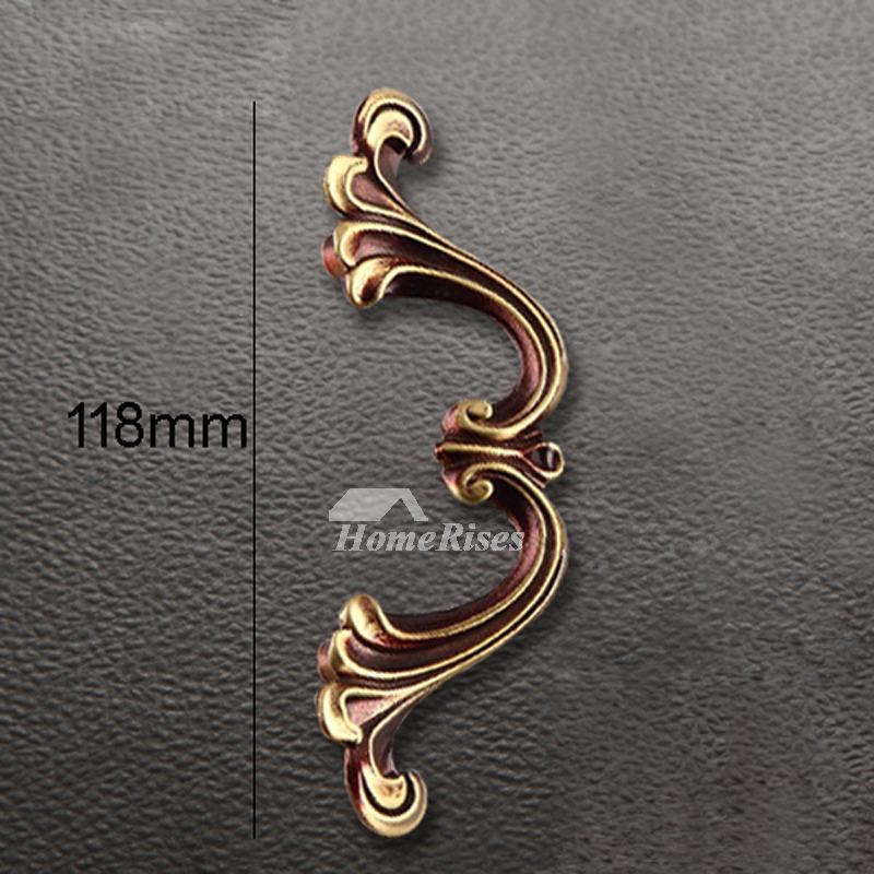 5 Inch Brass Drawer Pulls Carved Gold Dresser Kitchen Cabinet