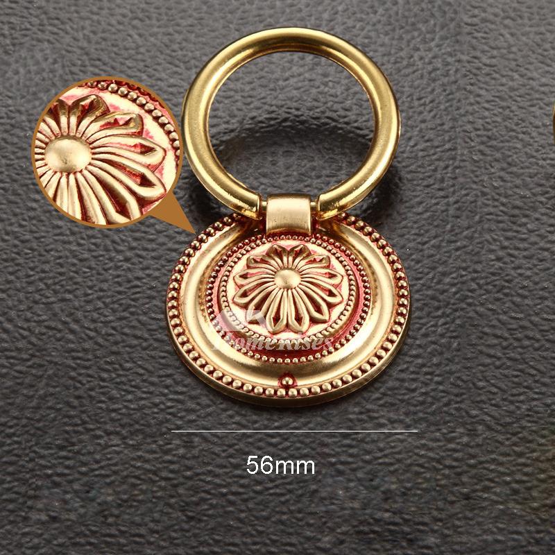 Vintage Carved Brass Drawer Pulls Gold Bronze Dresser