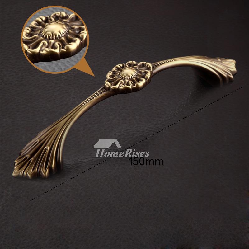 5 6 Inch Carved Antique Brass Gold Drawer Pulls Bedroom Unique