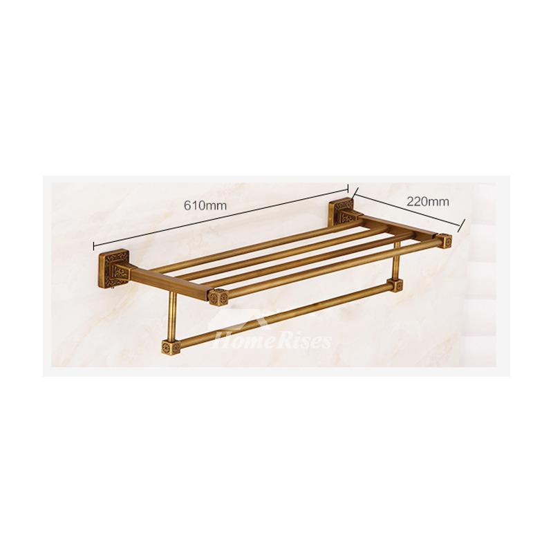 Antique Brass Towel Rack Gold Double Layer Bathroom Hotel Shelf