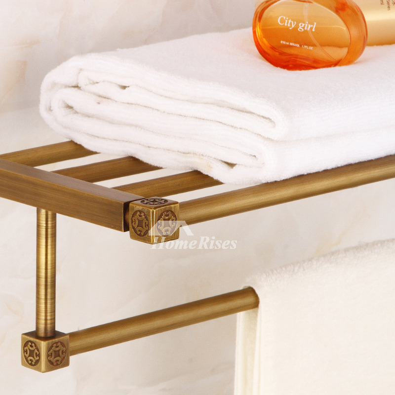 Antique Brass Towel Rack Gold Double Layer Bathroom Hotel Shelf