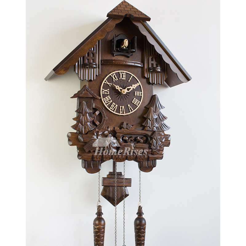 Designer Cuckoo Telling Time Wood Carved Rustic Wall Clock