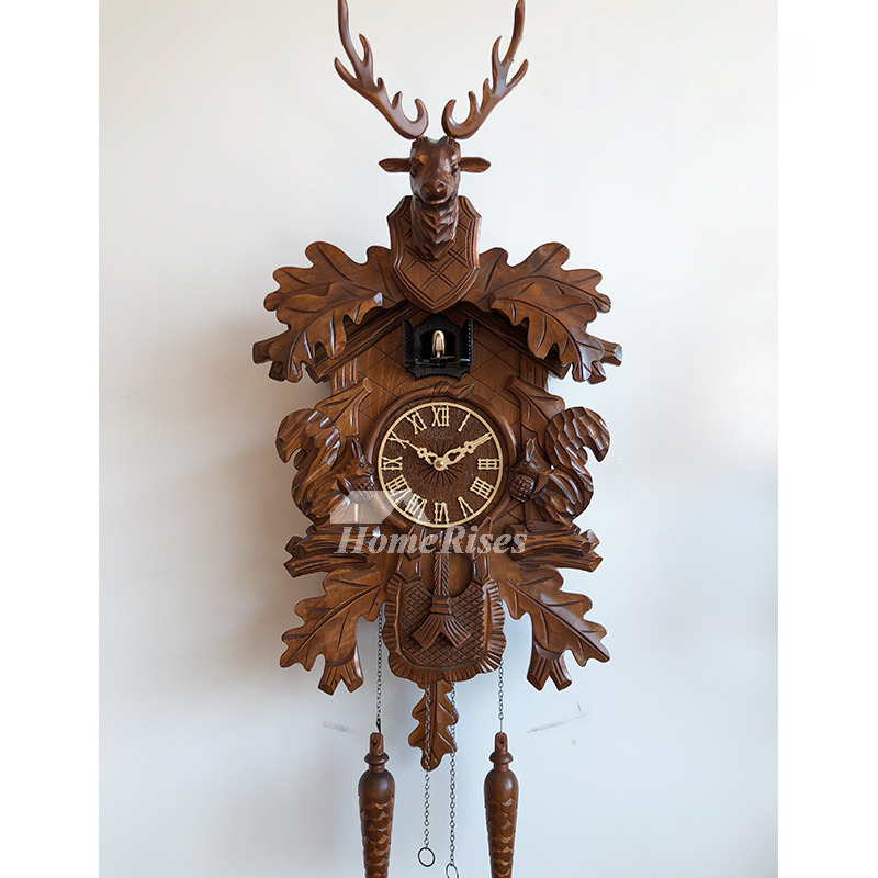 Antique Wall Clocks Antler Wood Carved Cuckoo Telling Time