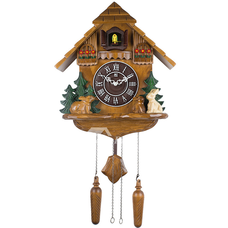Rustic Wall Clock Carved Wood Vintage Cuckoo Chiming