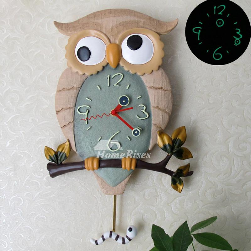 Funny Wall Clocks Owl Pendulum Illuminated Battery