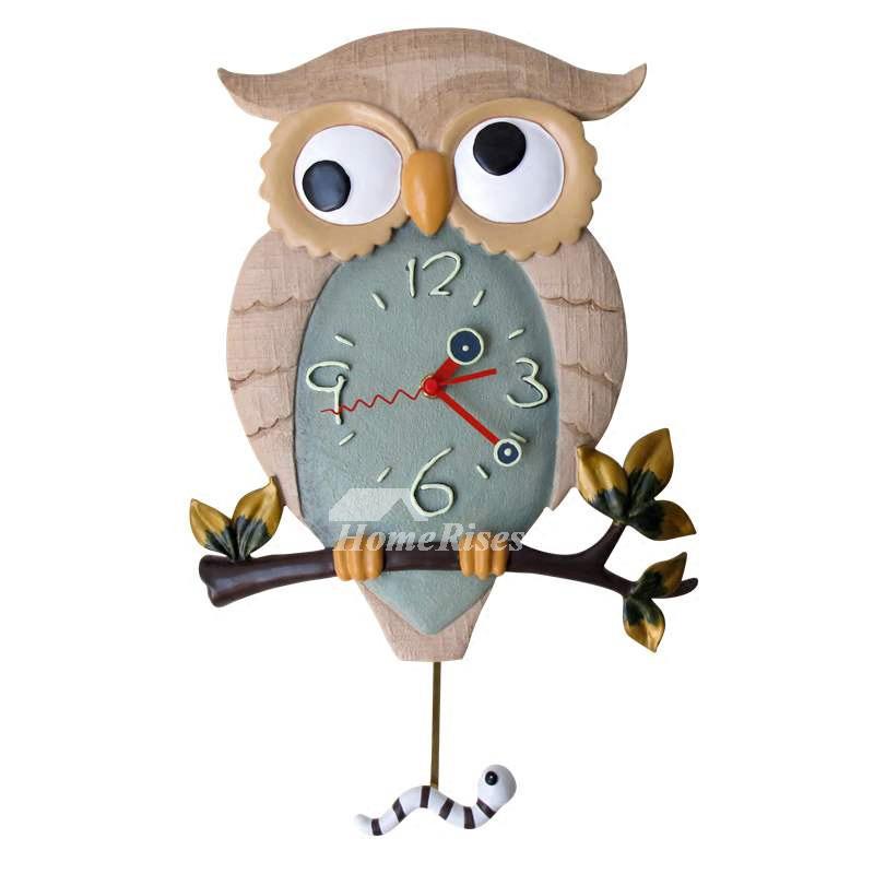 Funny Wall Clocks Owl Pendulum Illuminated Battery Operated Silent