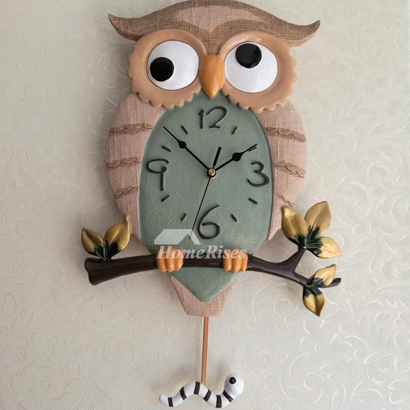 chic owl battery wall clocks carved silent cheap living room cool resin