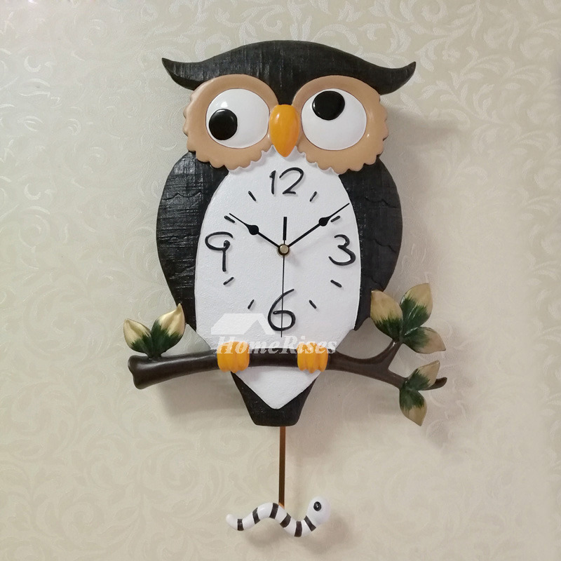 Chic Owl Battery Wall Clocks Carved Silent Cheap Living