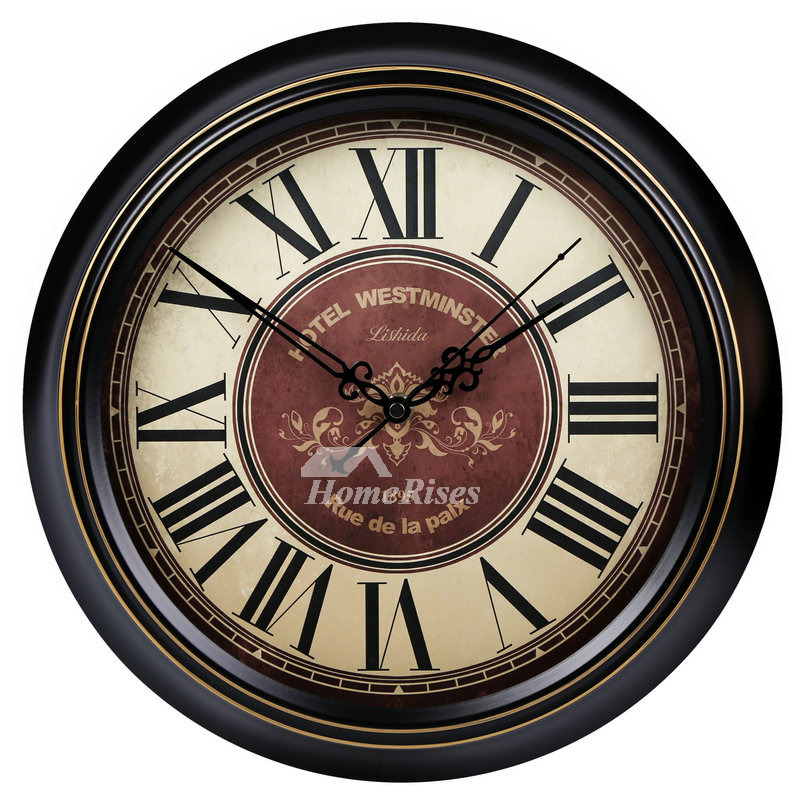 Antique 14 16 Inch Round Wall Clock Metal Cool Silent