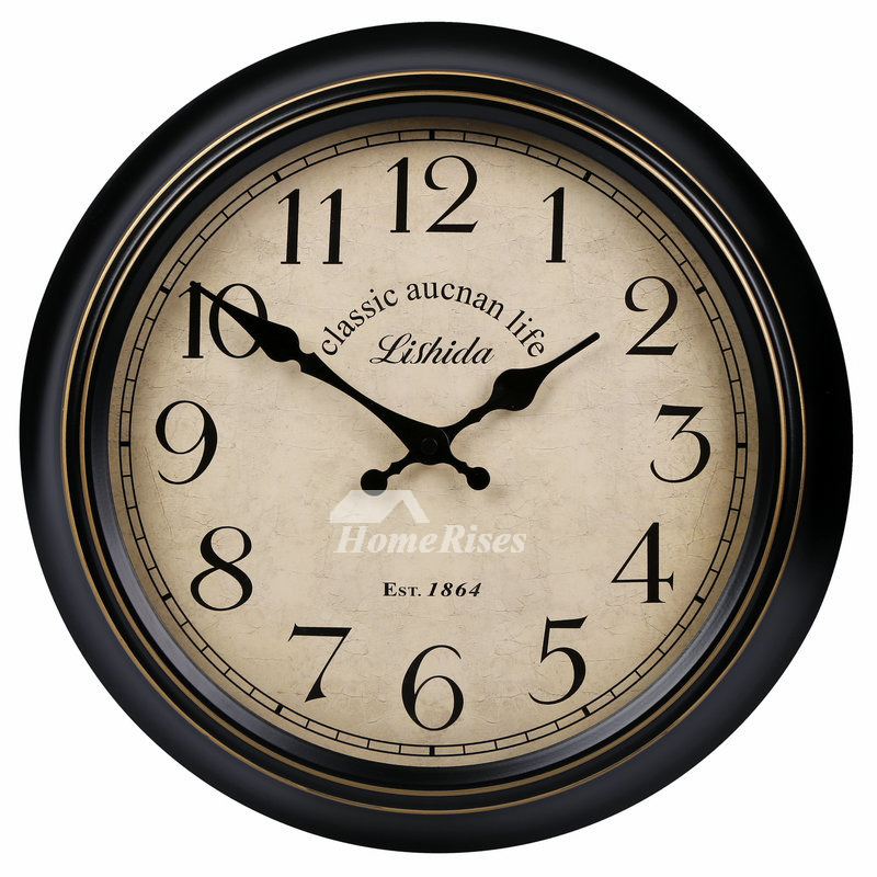 Ordinaire Kitchen Wall Clocks Round Hanging 14/16 Inch Metal Silent Outdoor