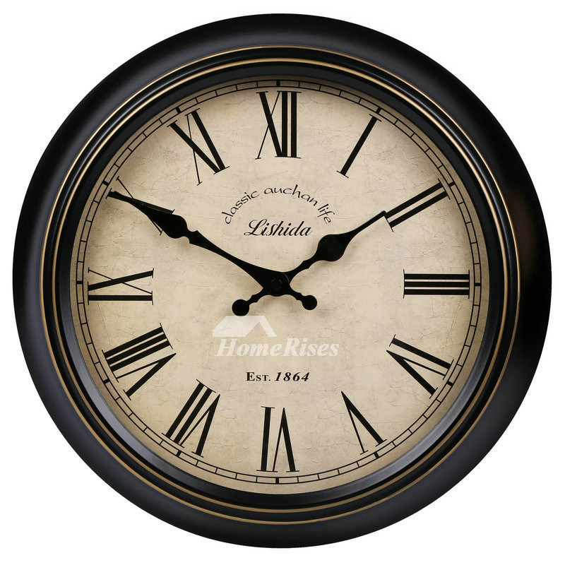 Kitchen Wall Clocks Round Hanging 14 16 Inch Metal Silent