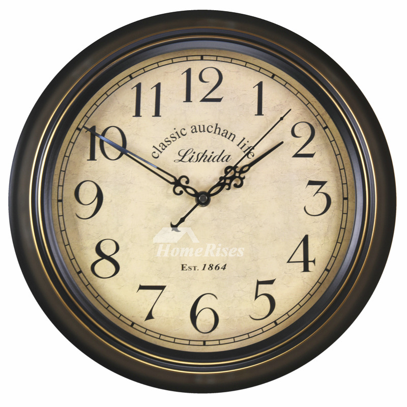 Kitchen Wall Clocks Round Hanging 14 16 Inch Metal Silent Outdoor