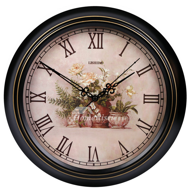 Bathroom Wall Clocks Round Decorative Silent Black Hanging