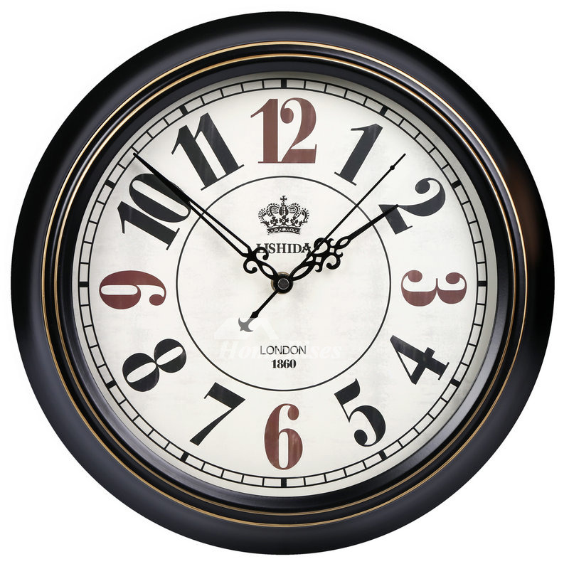 Cool Wall Clocks Round Metal Silent Unique 14 16 Inch Black Living Room