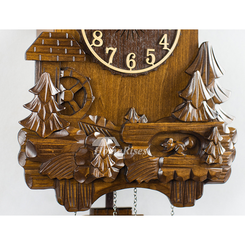 Inch Living Room Wall Clocks Hanging Wood Carved Pendulum