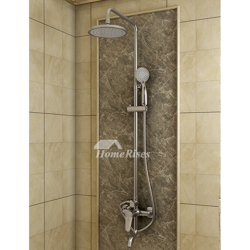 Exposed Shower System 8 Inch Shower Fixtures Wall Mount Silver