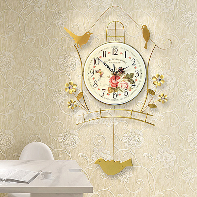 Illuminated Wall Clock Metal Bird Black Gold Decorative