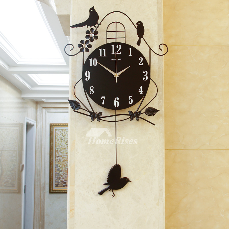 Decorative Wall Clocks Black Illuminated Pendulum Metal Hanging